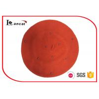 Wholesale 100% Wool orange knit beret hat little bead for season autumn from china suppliers