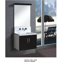 Wholesale Floating wall cabinet acrylic - resin integrated sink basin , black bathroom wall cabinet NON Drawers from china suppliers