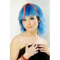 Wholesale Customized Blue Short Sports Fan Wigs for Female from china suppliers