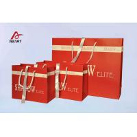 Red Art Paper Bags / Colored Paper Gift Bags Middle Hole Glued White Ribbon​ for sale