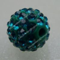 Buy cheap Blue Zircon Clay Shamballa Pave Beads In Size 6mm, 8mm, 10mm, 12mm from wholesalers