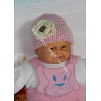Wholesale Pink Baby Girls Crochet Winter Hat With Flower Applique / Buttons from china suppliers