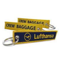 Quality Lufthansa Logo Crew Baggage Fabric Key Chains Made By Twill + Ring With Merrow Border Accept Custom for sale