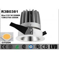 Buy cheap 15W Round Aluminum LED Spot Downlights Fixed Dim CITIZEN LED Down Lights from wholesalers