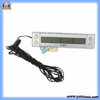 Wholesale Home Vehicle Indoor & Outdoor Digital Thermometer with Clock / Calendar Silver (B00032) from china suppliers