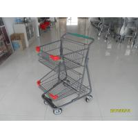 Wholesale Two Layer Basket Wire 4 Wheel Shopping Trolley / Cart With Color Poweder Coating from china suppliers