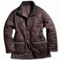 Wholesale 100% Polyester Men's Quilted Jacket with Corduroy Inner Collar, Available in Various Colors from china suppliers