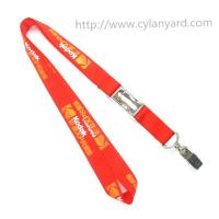 Quality Flat sublimation lanyard with bulldog clip, dye sub lanyard with metal sheet crimp for sale