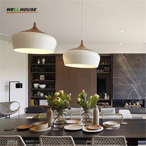 Wholesale Modern pendant light Oak Wood lamp E27 socket wood lampholder Hanging light white black Optionally 300mm / 350mm from china suppliers