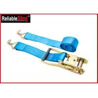 Wholesale 4T 50mm Polyester Orange Double J Hook Ratchet Straps , Car Trailer Tie Down Straps from china suppliers