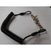 Wholesale Safety anti-drop solid black PU coil lanyard retractor holder w/swivel heavy duty hooks from china suppliers