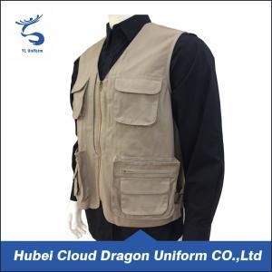 Quality Multi Pockets Men Lightweight Tactical Vest 100% Cotton Khaki Canvas for sale
