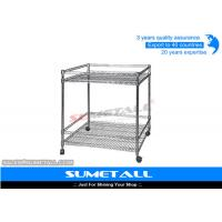 Wholesale Promotional Chrome Wire Shelving Wire Racks On Wheels For Supermarket / Shop from china suppliers