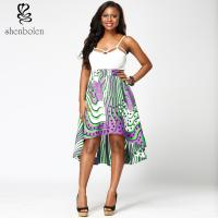 Wholesale Fabric African Print High Waist Midi Skirts High Low Style For Summer / Spring from china suppliers