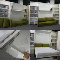 Buy cheap Home Use Space Saving Wall Bed With Sofa And Bookshelf White Color from wholesalers