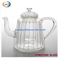 Quality Ribbed Fire resistant Glass Stove Top Tea Kettle for sale
