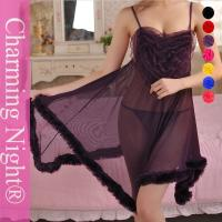 Wholesale Fur Edge Ruffle Neck Transparent Sexy Girls Mature Women sexy long night dress Lingerie from china suppliers