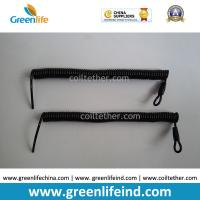 Buy cheap Custom Attachments Solid Black PU Covered Extendable Plastic Spiral Safety Lanyard from wholesalers