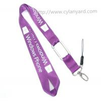 Wholesale Imprinted logo nylon carabiner lanyards, nylon neck straps with aluminum carabiner hook, from china suppliers
