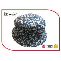 Wholesale Cotton Floral Printed Bucket Hat  for girls, Navy Sheeting Lining Fisherman Hat from china suppliers