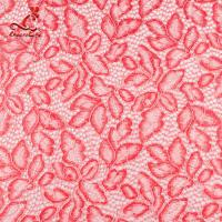 Wholesale Comfortable Pink Embroidered Lace Fabric Dimensional High Stability from china suppliers
