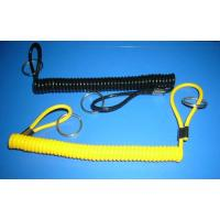 Wholesale Black yellow spiral cord extention tool holder with 2loops & 2split rings end safety ropes from china suppliers