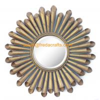 Wholesale Gold Leaf Finish Metal Roll Decorated Living Room Wall Mirror For Home Decoration from china suppliers