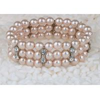 Wholesale Pink Colored Costume Jewelry Pearl Bracelets With Diamonds Triple Strand from china suppliers