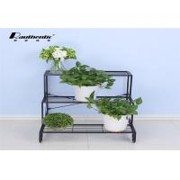 Wholesale Wrought iron flower multilayer floor type removable three layer simple, green space style flower pot storage rack from china suppliers