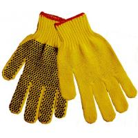 Wholesale Natural yellow cut resistant  Polyester String Knit Gloves With PVC Dots On palm TCDP04 from china suppliers