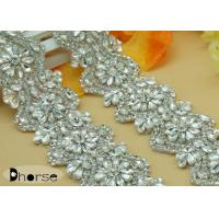 Buy cheap Silver Beaded Bridal Sash Applique Crystal Rhinestone Trimming For Dress from wholesalers