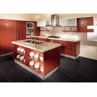 Wholesale Red Oak Color Wood Veneer Kitchen Cabinets Stainless Steel Sink And Faucet from china suppliers