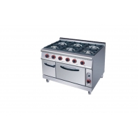 China Commercial Restaurant Cooking Equipment Six Burner Gas Stove with Oven on sale