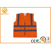 Quality Fluorescent Green / Orange High Visibility Safety Jacket with Reflective Strip for sale