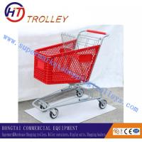 Wholesale 100L Colored Plastic Basket Shopping Cart On Wheels With Colorless Varnish Frame from china suppliers