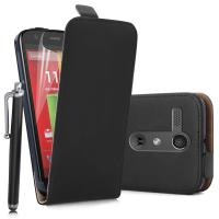 Quality Motorola Moto G Real Genuine Leather flip Phone cases Covers black and white for sale