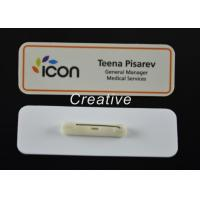 Wholesale Customized Gloss Varnish White Magnetic Plastic Name Badges With Pin from china suppliers