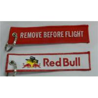 Wholesale Red Bull Remove Before Flight Customized OEM Fabric Keychains from china suppliers