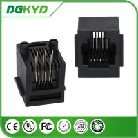 Wholesale PBT Black 6p6c 180 Degree RJ11 Jack with brim / RJ11 Modular Jack from china suppliers