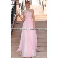 Simple style a line one shoulder floor length prom dresses for Brand name wedding dresses