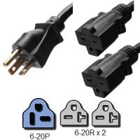 Wholesale NEMA 6 - 20P 2 Foot Power Cord Splitter 2 x 6 - 20R Legs SJT Jacket Type from china suppliers