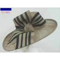 Wholesale Popular Ladies Sinamay Hats With Bow , Big Brim For Carnival Colorfastness from china suppliers
