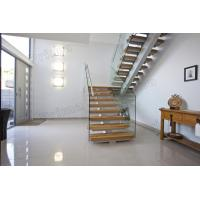 Quality Mono Stringer Solid Wood Treads Staircase Glass Balustrade Stairs for sale