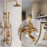 Wholesale Antique New Design Brass Mixer Shower Tap Set With Small Shelf TFB585 from china suppliers