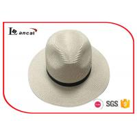 Wholesale Natural Color Wide Brimmed Straw Hat , 100% Paper Plait Ladies Summer Hats With Black Band from china suppliers