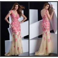 China Flower Applique Sheer Tulle Long Womens Prom Dresses with Crew Neck / Beaded Sequins on sale