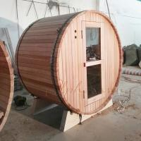 Wholesale Red Ceder Barrel Shaped Sauna With Electrical Harvia Sauna Heater Or Burning Stove from china suppliers