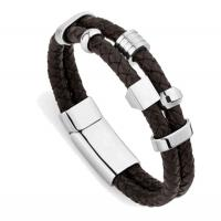 Wholesale Europ American Fashion Trendy Stainless Steel Geniune PU Leather Bracelet Bangle LBL167 from china suppliers