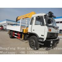 Wholesale 2017 best price Dongfeng 4*2 190hp 6.3ton truck mounted crane for sale, hot sale dongfeng 6.3tons truck with crane from china suppliers