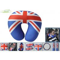Wholesale U Type UK Flag 30x30cm Soft Polyester car neck support pillow auto Travel Pillow from china suppliers
